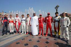 Scott Speed, Fernando Alonso, Ralf Schumacher, Timo Glock, Sakon Yamamoto, Sheikh Mohammed bin Zayed