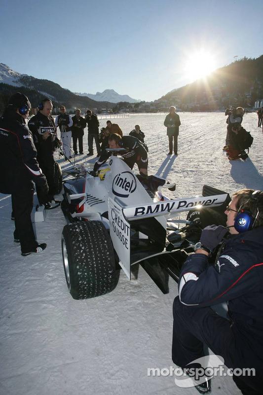 Nick Heidfeld, a BMW Sauber F1, St Moritz horse racing, special spike tyres from Bridgestone