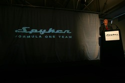Tony Jardine presides at the Spyker Formula One Team launch