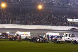 Denny Hamlin after a last lap incident