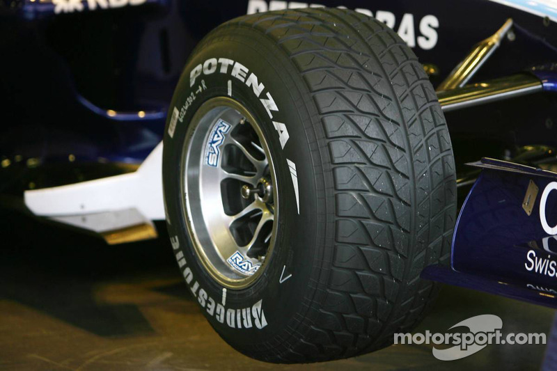 An extreme wet Bridgestone tyre at Barcelona February testing
