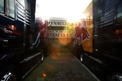 Scuderia Toro Rosso and a Red Bull Racing truck
