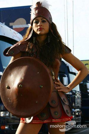 A Scuderia Toro Rosso gladiator girl