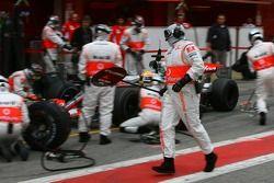 Pitstop practice for Lewis Hamilton