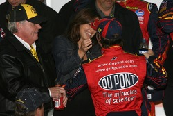 Victory lane: race winner Jeff Gordon celebrates with his wife Ingrid