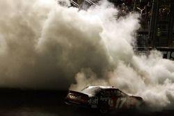 Race winner Matt Kenseth performs a burnout