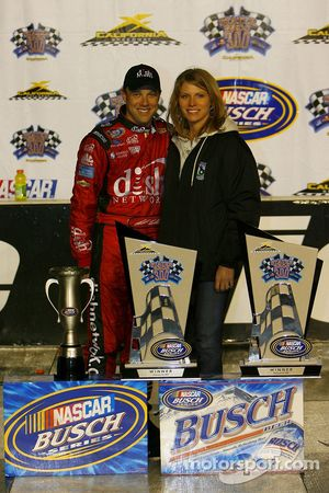 Victory lane: race winner Matt Kenseth celebrates with his wife Katie