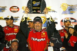 Victory lane: race Mike Skinner celebrates