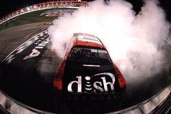 Race winner Matt Kenseth performs a burnout