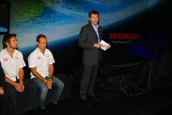Jenson Button, Rubens Barrichello and Nick Fry, Honda Racing F1 Team, Chief Executive Officer