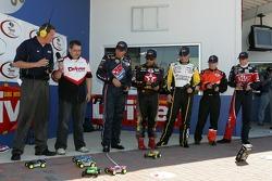 Raybestos Rookie RC Challenge 2007: rookie of the year contenders David Reutimann, Juan Pablo Montoya, Paul Menard, Brandon Whitt and David Ragan drive their RC cars