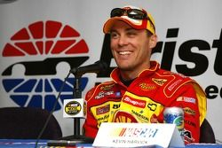 Kevin Harvick speaks to the media