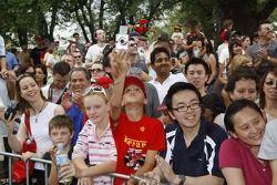 Fans watch Ferrari street parade