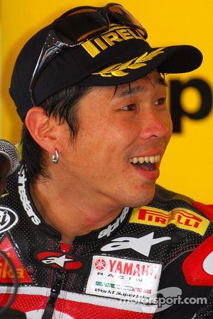 Noriyuki Haga lors de la conférence de presse d'après course