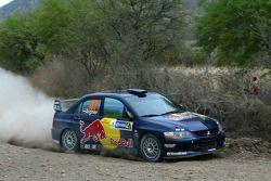 Andreas Aigner et Klaus Wicha, Red Bull Rallye Team, Mitsubishi Lancer Evo IX