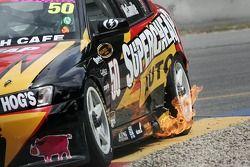 La voiture de Cameron McConvilles après une sortie