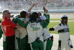 Holiday Inn Chevy crew members celebrate Jeff Burton's victory