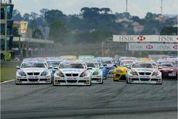 Start, Race 1, Jorg Muller, BMW Team Germany, BMW 320si WTCC, Andy Priaulx, BMW Team UK, BMW 320si W