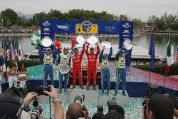 Podium: winners Sébastien Loeb and Daniel Elena, second Marcus Gronholm and Timo Rautianen, third place Mikko Hirvonen and Jarmo Lehtinen