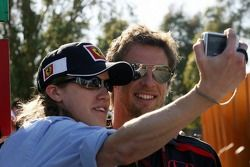 Jenson Button, Honda Racing F1 Team, has his picture taken with a fan