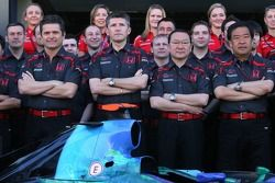 Honda F1 Team photoshoot, front row, l-r, Gil de Ferran, Honda Racing F1 Team, Sporting Director, Nick Fry, Honda Racing F1 Team, Chief Executive Officer, Yashurio Wada, Honda Racing Development Ltd, President