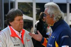 Norbert Haug, Mercedes, Motorsport chief and Flavio Briatore, Renault F1 Team, Team Chief, Managing Director
