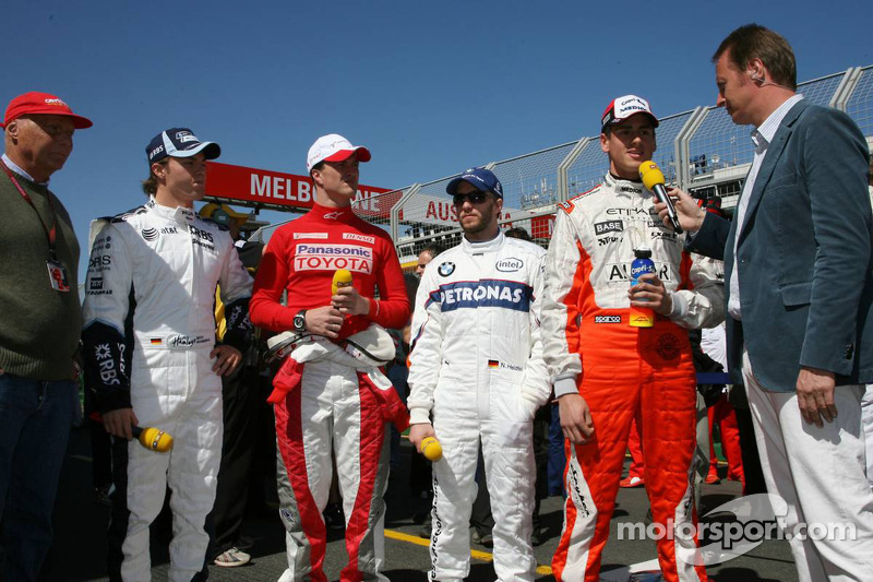 RTL - Niki Lauda, Nico Rosberg, WilliamsF1 Team, Ralf Schumacher, Toyota Racing, Nick Heidfeld, BMW