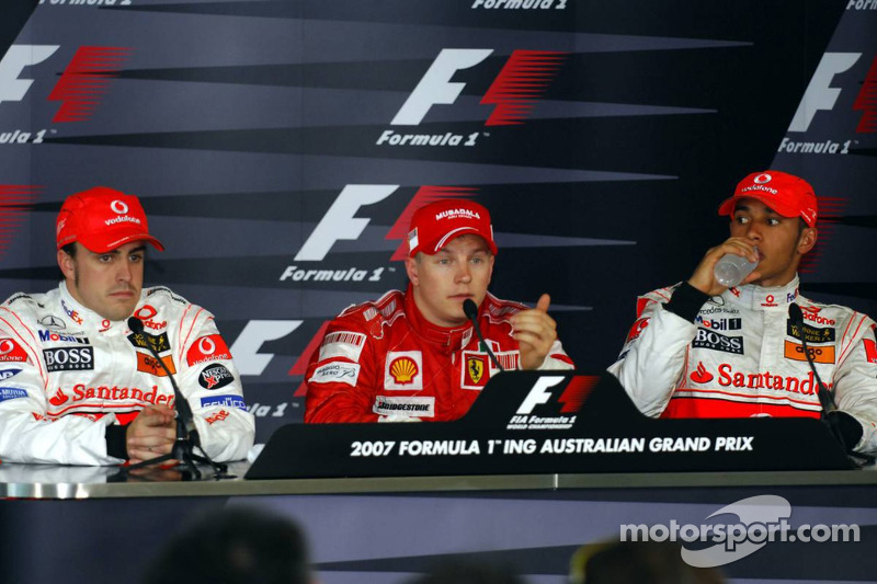 Conferencia de prensa: ganador Kimi Raikkonen con Fernando Alonso y Lewis Hamilton
