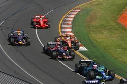 Rubens Barrichello, Honda Racing F1 Team, RA107; Vitantonio Liuzzi, Scuderia Toro Rosso, STR02; Adrian Sutil, Spyker F1 Team, F8-VII