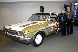 1960 NASCAR Grand National Champion Rex White and GM Racing NASCAR Marketing Manager Jeff Chew with a replica of his 1962 Chevy Impala