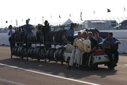 Corvette Racing team members and drivers head back to the paddock
