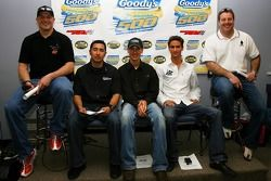 Busch East Series drivers Matt Kobyluck, Jesus Hernandez, Joey Logano, Sean Caisse, and Mike Olsen sit during a press conference