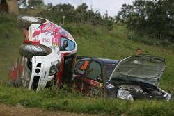 Gilles Schammel et Renaud Jamoul, JPS Junior Team, Citroën C2 R2, sont sortis de la piste et ont tap