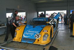 Post-race tech inspection for the winning #05 Luggage Express Team Sigalsport BMW BMW Riley