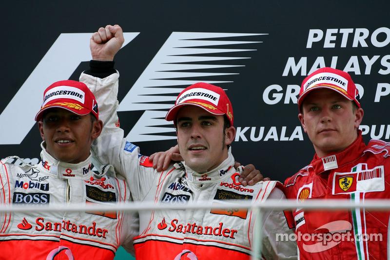 2007: 1. Fernando Alonso, 2. Lewis Hamilton, 3. Kimi Räikkönen