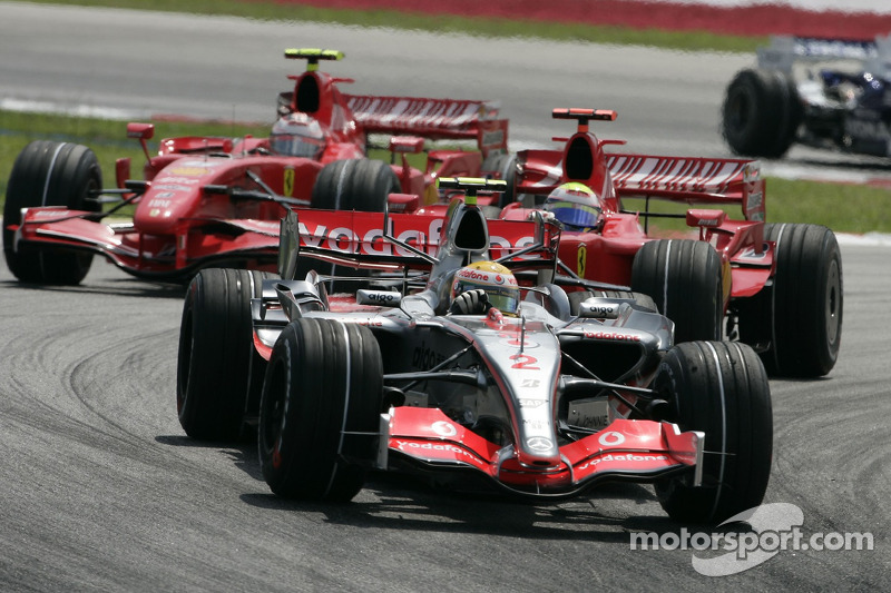 Lewis Hamilton, Felipe Massa y Kimi Raikkonen