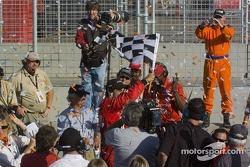 Race winner Raphael Matos celebrates