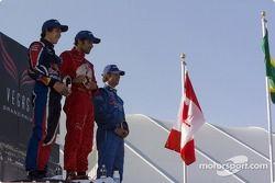 Podium: race winner Raphael Matos with Robert Wickens and Jonathan Bomarito