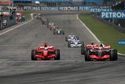 Felipe Massa, Scuderia Ferrari, tries to pass Lewis Hamilton, McLaren Mercedes