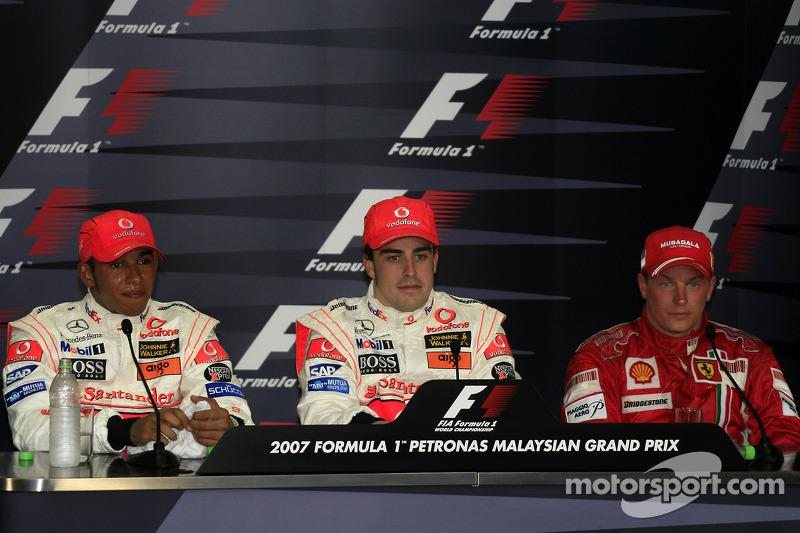 Fernando Alonso, Lewis Hamilton y Kimi Raikkonen