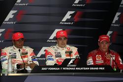 Press conference: race winner Fernando Alonso with Lewis Hamilton and Kimi Raikkonen