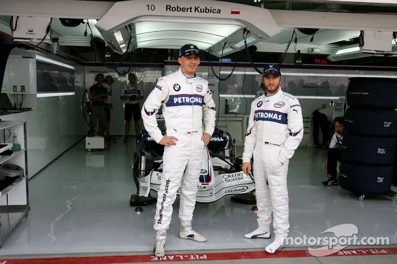 Robert Kubica, BMW Sauber F1 Team ve Nick Heidfeld, BMW Sauber F1 Team