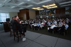 Texas Motor Speedway president Eddie Gossage and Tony Raines, driver of the #96 DLP HDTV Chevrolet during a luncheon with the Fort Worth Chamber of Commerce