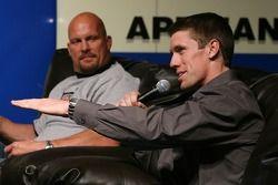 Carl Edwards speaks to the fans as WWE wrestler