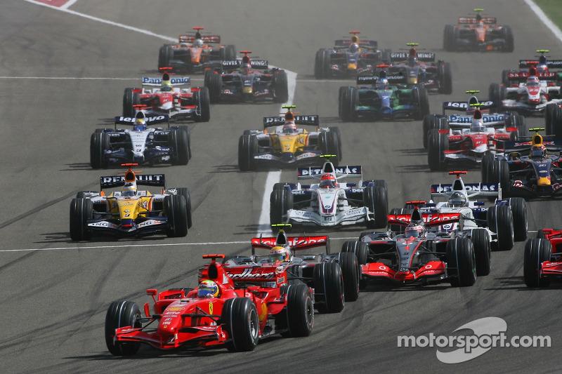Start, Felipe Massa, Scuderia Ferrari, F2007, Lewis Hamilton, McLaren Mercedes, MP4-22, Fernando Alo