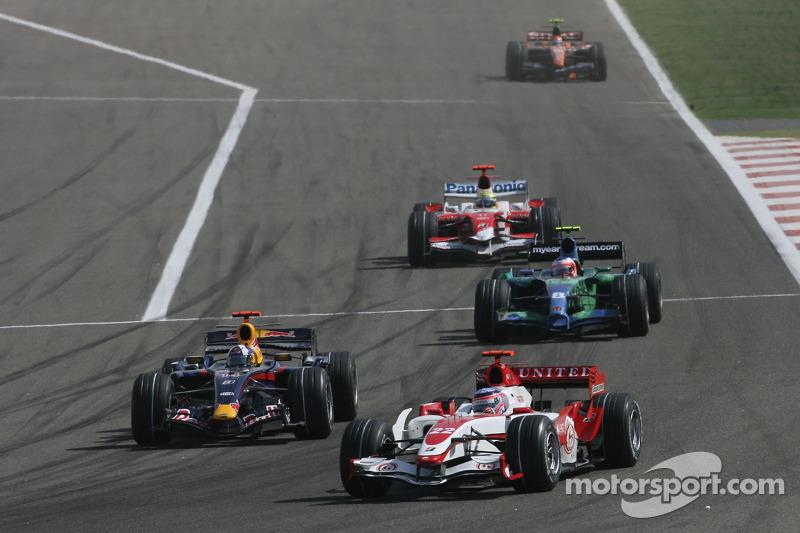 Takuma Sato, Super Aguri F1, SA07 ve David Coulthard, Red Bull Racing, RB3