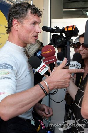 David Coulthard, Red Bull Racing gives an inteview after retiring