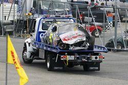 La voiture accidentée de Kyle Busch