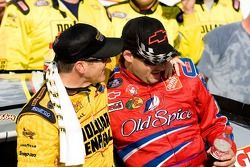 Victory lany: race winner Bobby Labonte celebrates with Tony Stewart