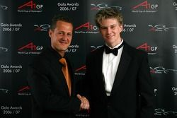 Michael Schumacher and World Cup of Motorsport winner for Team Germany, Nico Hulkenberg, Driver of A1Team Germany